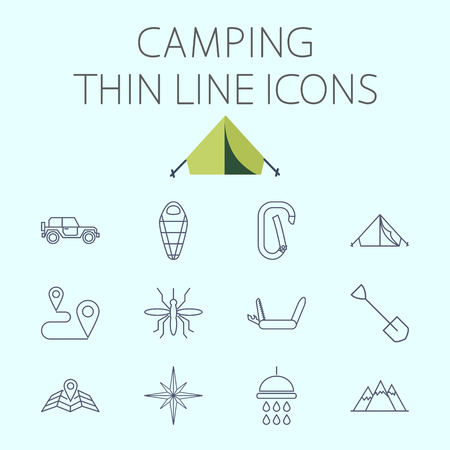 insect mosquito: Camping icon related flat vector set for web and mobile applications. Set includes - . Logo, pictogram, infographic element