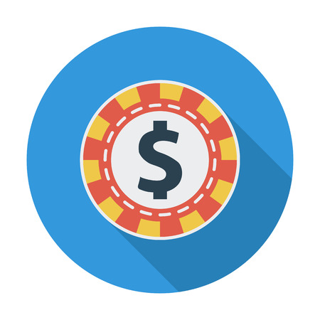 las vegas metropolitan area: Gambling chips. Flat vector icon for mobile and web applications. Vector illustration.
