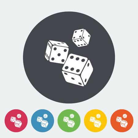 craps: Craps. Single flat icon on the circle button. Vector illustration.