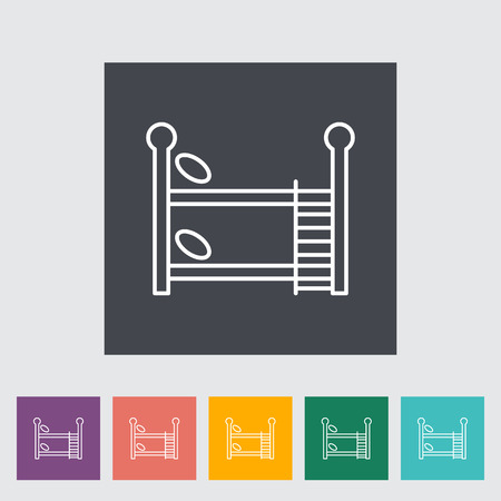 bunk bed: Bunk bed thin line flat vector related icon set for web and mobile applications. It can be used as - logo, pictogram, icon, infographic element. Vector Illustration.