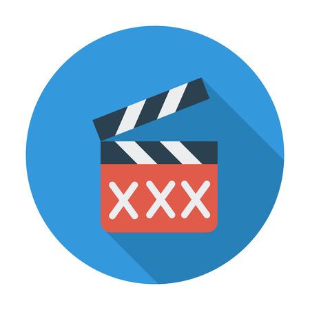 vuxen: Vuxen film kläpp. Platt vektor ikon för mobila och webbapplikationer. Vektor illustration.