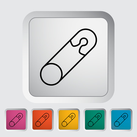single entry: Safety pin thin line flat vector related icon set for web and mobile applications. It can be used as - logo, pictogram, icon, infographic element. Vector Illustration.