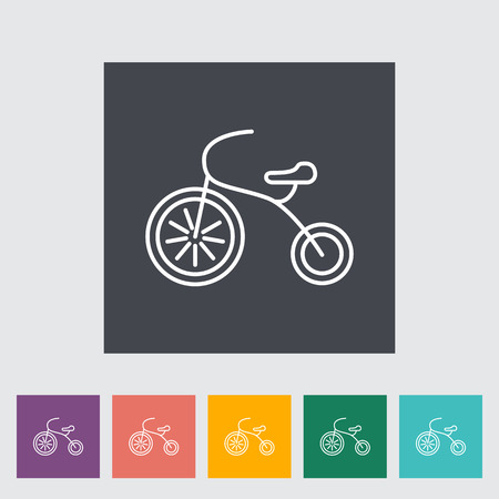 baby playing toy: Tricycle thin line flat vector related icon set for web and mobile applications. It can be used as - logo, pictogram, icon, infographic element. Vector Illustration.