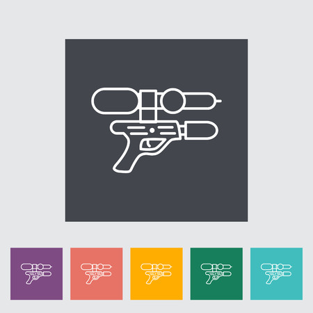 futuristic pistol: Gun toy thin line flat vector related icon set for web and mobile applications. It can be used as - logo, pictogram, icon, infographic element. Vector Illustration.