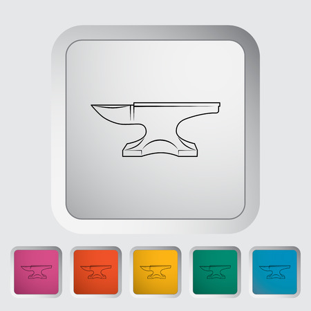 cast iron: Anvil flat icon on the button Illustration