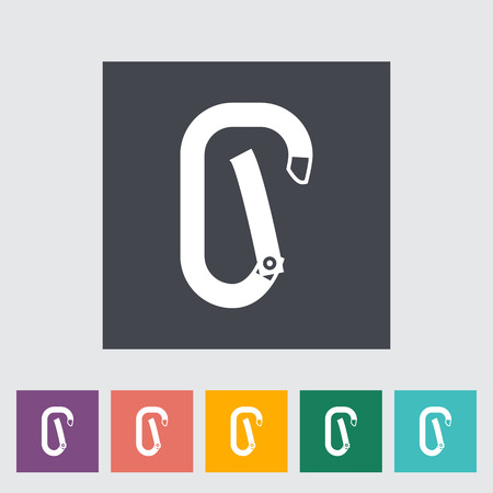 karabiner: Climbing carabiner clip flat icon on the button