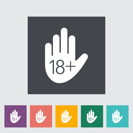 restriction: Age restriction flat icon on the button