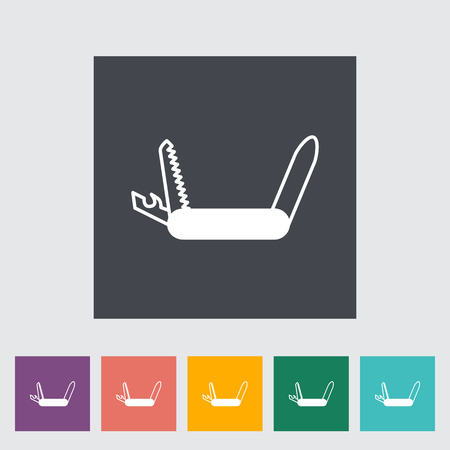 survival knife: Knife flat icon on the button Illustration