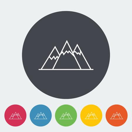 winter range: Mountain flat icon on the circle Illustration