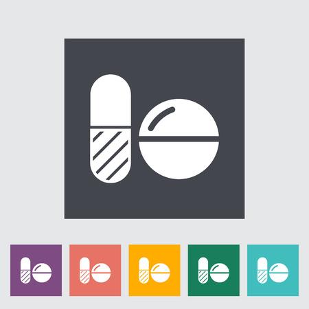 blisters: Pillole contraccettive icona piatta sul pulsante