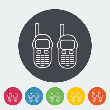 portable radio: Radio port�til icono de plano sobre el c�rculo