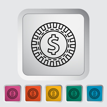 gambling chips: Gambling chips flat icon on the button