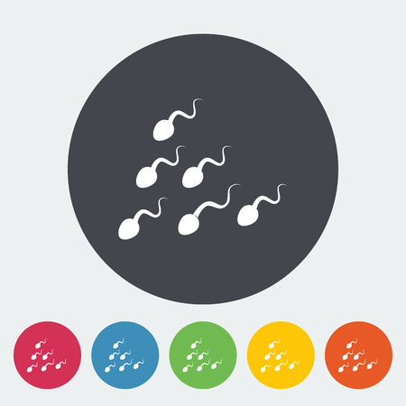 male sperm: Sperm flat icon on the button