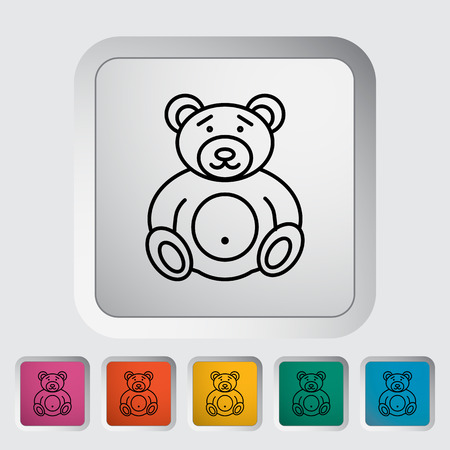 baby animals: Bear toy thin line flat icon set