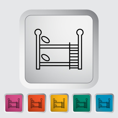 bunk: Bunk bed thin line flat icon set  Illustration