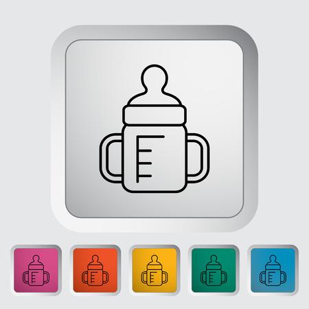 bottle feeding: Biber�n delgada l�nea plana icono conjunto Vectores