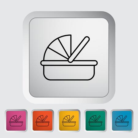 cradle: Cradle thin line flat icon set
