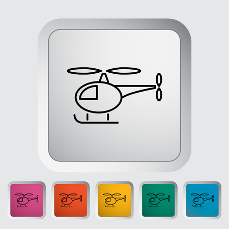 transposition: Helicopter thin line flat icon set