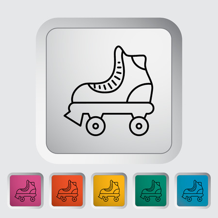 Roller skate thin line flat icon set 矢量图像
