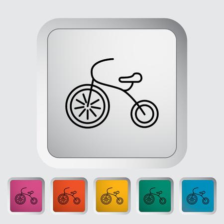 driewieler: Driewieler dunne lijn flat icon set