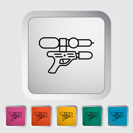 Gun toy thin line flat icon set