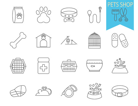 pets: Pets shop icons. Thin line flat vector related icon set for web and mobile applications. It can be used as - logo, pictogram, icon, infographic element. Vector Illustration.