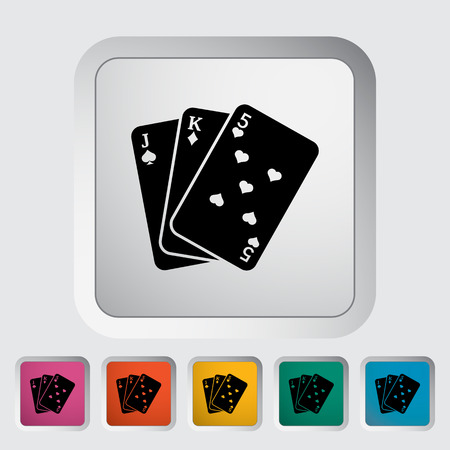 playing card symbols: Baccarat. Single flat icon on the button. Vector illustration.