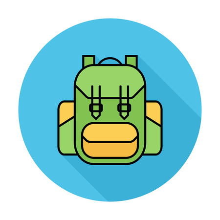 back pack: Rucksack. Single flat color icon on the circle. Vector illustration.