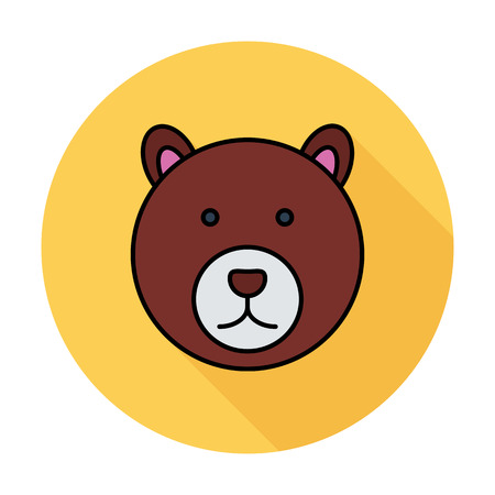 petting zoo: Bear. Single flat color icon on the circle. Vector illustration.