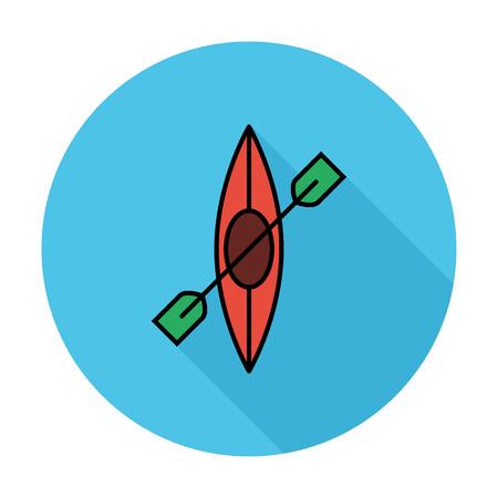 barco caricatura: Canoa. Individual icono de color plano en el c�rculo. Ilustraci�n del vector.