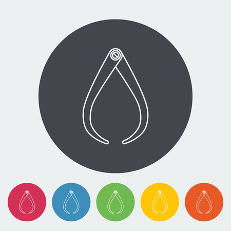 calibration: Calipers. Single flat icon on the circle button. Vector illustration.
