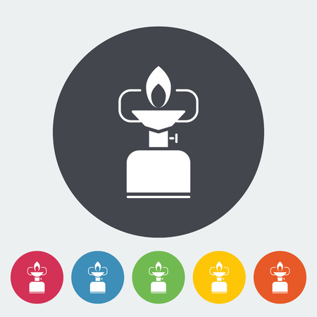 butane: Camping stove. Single flat icon on the circle. Vector illustration. Illustration