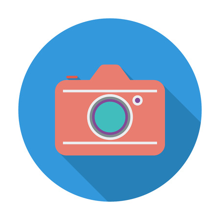reflex camera: Camera. Flat vector icon for mobile and web applications. Vector illustration.