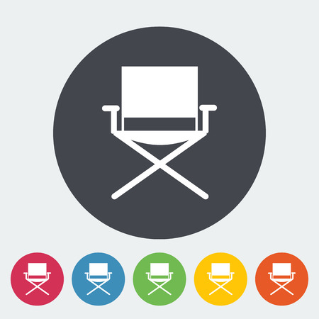 displaced: Camping chair. Single flat icon on the circle. Vector illustration.