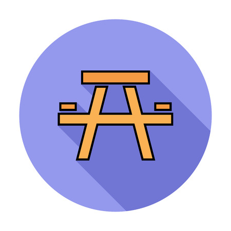 stowing: Camping table. Single flat color icon on the circle. Vector illustration. Illustration