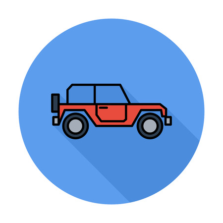offroad car: Offroad car. Single flat color icon on the circle. Vector illustration.