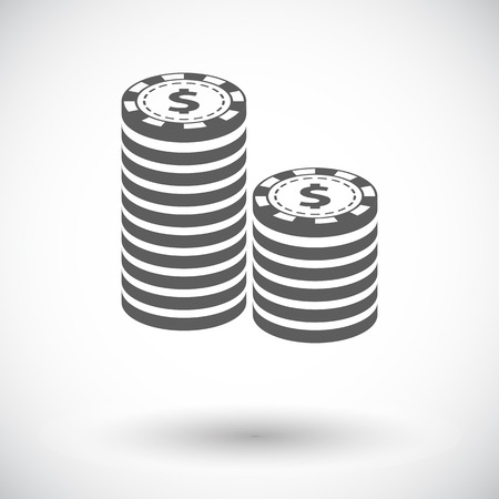 poker chips: Gambling chips. Single flat icon on white background. Vector illustration.