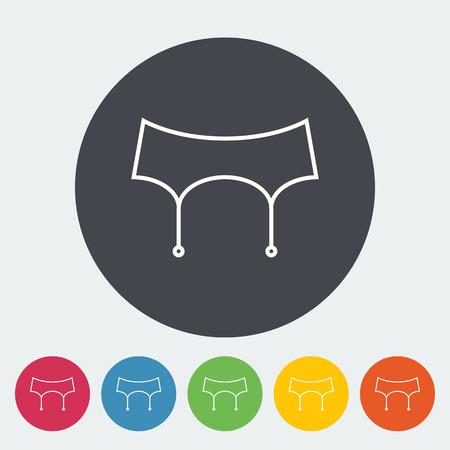 garter belt: Garter belt. Single flat icon on the button. Vector illustration.