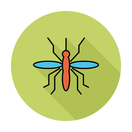 insect mosquito: Mosquito. Single flat color icon on the circle. Vector illustration.