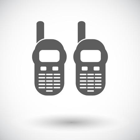 portable radio: Radio port�til. Individual icono de plano sobre fondo blanco. Ilustraci�n del vector.
