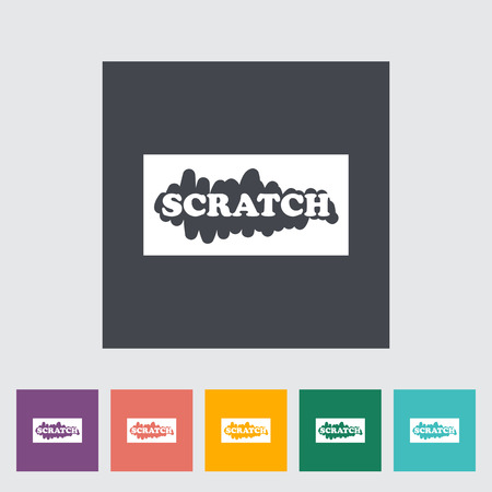 scratch card: Scratch card. Single flat icon on the button. Vector illustration.