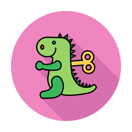 animated alien: Dinosaurus toy icon. Flat vector related icon whit long shadow for web and mobile applications. It can be used as - logo, pictogram, icon, infographic element. Vector Illustration.