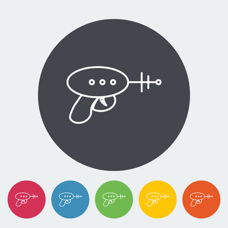 futuristic pistol: Gun toy icon. Thin line flat vector related icon for web and mobile applications. It can be used as - logo, pictogram, icon, infographic element. Vector Illustration. Illustration