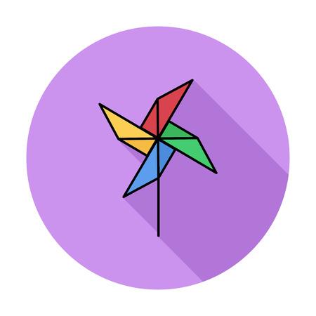 molinete: Icono de la perinola. Piso icono relacionado vector whit larga sombra para web y aplicaciones m�viles. Se puede utilizar como - logotipo, pictograma, icono, elemento de infograf�a. Ilustraci�n del vector.