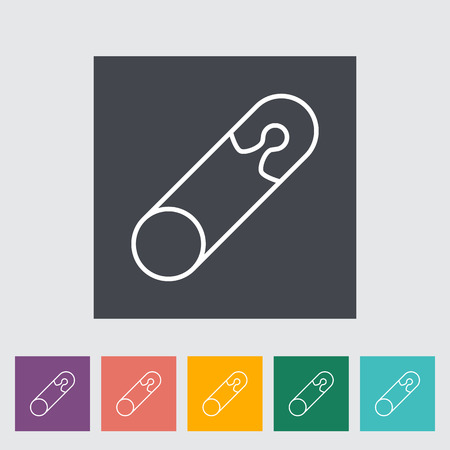 safety pin: Safety pin thin line flat vector related icon set for web and mobile applications. It can be used as - logo, pictogram, icon, infographic element. Vector Illustration.