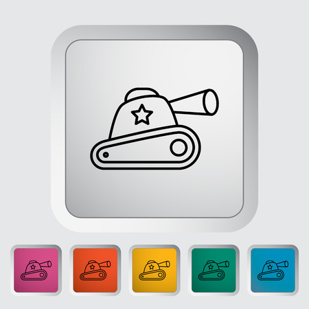 trooper: Tank toy thin line flat vector related icon set for web and mobile applications. It can be used as - logo, pictogram, icon, infographic element. Vector Illustration. Illustration