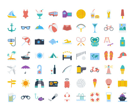 Summer icons set. Flat vector related icons set for web and mobile applications. It can be used as - logo, pictogram, icon, infographic element. Vector Illustration.
