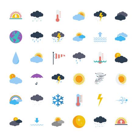 meteo: Icone del tempo impostato. Piatti relative Vector set di icone per il web e applicazioni mobili. Può essere utilizzato come - logo, pittogramma, icona, elemento infografica. Illustrazione vettoriale.