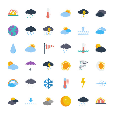 Weather icons set. Flat vector related icons set for web and mobile applications. It can be used as - logo, pictogram, icon, infographic element. Vector Illustration. Vectores