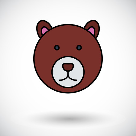 petting zoo: Bear. Flat icon on the white background for mobile and web applications. Vector illustration.